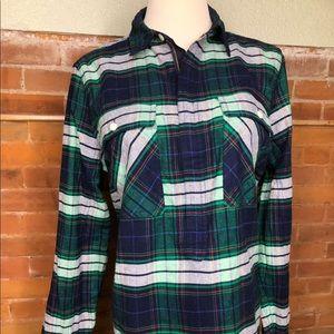 J Crew Women's 3/4 Zip Up Flannel Size S